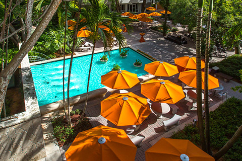 Umbrellas and fountain at the University of Miami Coral Gables campus