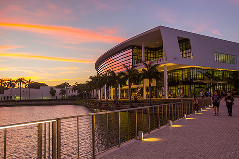 Exterior Shot of the Student Center at the University of Miami Coral Gables Campus during sunset